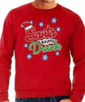 Foute kerstborrel trui kersttrui santa is a little drunk rood voor heren