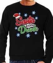Foute kerstborrel trui kersttrui santa is a little drunk zwart voor heren