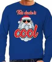 Foute kerstborrel trui kersttrui this dude is cool stoere santa blauw voor heren