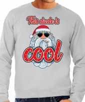 Foute kerstborrel trui kersttrui this dude is cool stoere santa grijs voor heren
