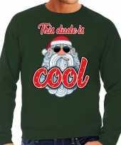 Foute kerstborrel trui kersttrui this dude is cool stoere santa groen voor heren