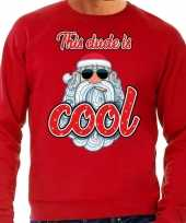 Foute kerstborrel trui kersttrui this dude is cool stoere santa rood voor heren