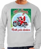 Foute kerstborrel trui kersttrui voor motorrijders mc santa grijs voor heren
