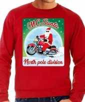 Foute kerstborrel trui kersttrui voor motorrijders mc santa rood voor heren
