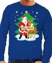 Foute kersttrui blauw met de kerstman en rudolf voor heren