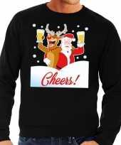 Foute kersttrui cheers met dronken kerstman en rudolf voor heren 10129098