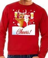 Foute kersttrui cheers met dronken kerstman en rudolf voor heren 10129099