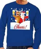 Foute kersttrui cheers met dronken kerstman en rudolf voor heren 10130530