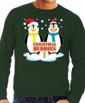 Foute kersttrui groen met 2 pinguins voor heren