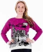 Foute kersttrui paars london voor dames