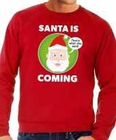 Foute kersttrui rood santa is coming voor heren