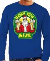 Foute oud en nieuw trui kersttrui happy new beer bier blauw voor heren