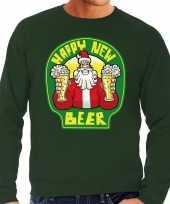 Foute oud en nieuw trui kersttrui happy new beer bier groen voor heren