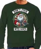 Groene foute kersttrui kerstkleding dont fuck with santa voor heren grote maten