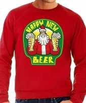 Grote maat foute oud en nieuw trui kersttrui happy new beer bier rood voor heren