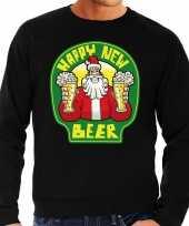 Grote maat foute oud en nieuw trui kersttrui happy new beer bier zwart voor heren