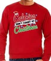 Grote maten foute kerstborrel trui kersttrui calories don t count at christmas rood voor heren
