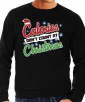 Grote maten foute kerstborrel trui kersttrui calories don t count at christmas zwart voor heren