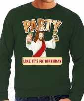 Grote maten foute kerstborrel trui kersttrui party jezus groen voor heren