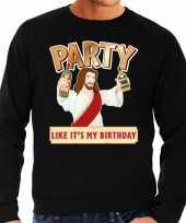 Grote maten foute kerstborrel trui kersttrui party jezus zwart voor heren