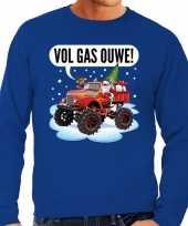 Grote maten foute kerstborrel trui kersttrui vol ga ouwe santa op monstertruck truck blauw voor heren