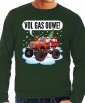 Grote maten foute kerstborrel trui kersttrui vol ga ouwe santa op monstertruck truck groen voor heren