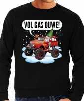 Grote maten foute kerstborrel trui kersttrui vol ga ouwe santa op monstertruck truck zwart voor heren