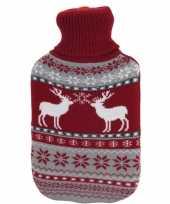 Kerstkruik met rood grijze rendieren kersttrui hoes