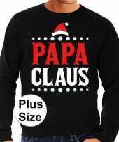 Plus size foute kerstborrel trui kersttrui papa claus zwart voor heren