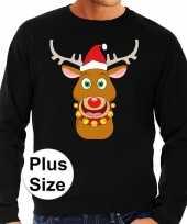 Plus size foute kerstborrel trui kersttrui rudolf rendier zwart voor heren