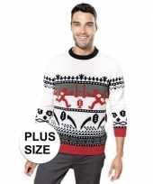 Plus size rood witte foute lelijke gebreide kersttrui met noorse print voor volwassenen