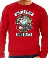 Rode foute kersttrui kerstkleding dont fuck with santa voor heren