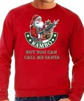 Rode foute kersttrui kerstkleding rambo but you can call me santa voor heren