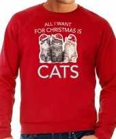 Rode kersttrui kerstkleding all i want for christmas is cats voor heren
