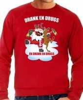 Rode kersttrui kerstkleding drank en drugs voor heren