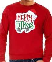 Rode kersttrui kerstkleding merry fitmas voor heren