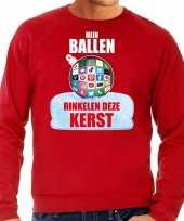 Rode kersttrui kerstkleding mijn ballen rinkelen deze kerst voor heren met social media kerstbal