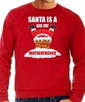 Rode kersttrui kerstkleding santa is a big fat motherfucker voor heren grote maten