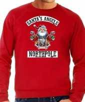 Rode kersttrui kerstkleding santas angels northpole voor heren