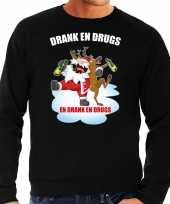 Zwarte kersttrui kerstkleding drank en drugs voor heren
