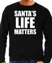 Zwarte kersttrui kerstkleding santas life matters voor heren